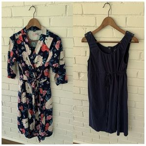 Maternity Floral Robe and Navy Hospital Gown Set